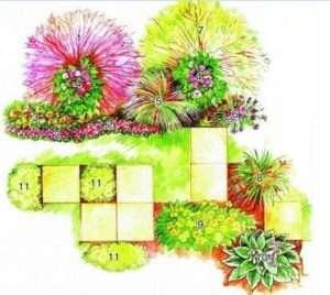 Схема квітника, в якому переважають жовто-червоні відтінки
